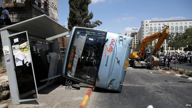 Israeli bus after being hit by a digger in Jerusalem, 4 Aug