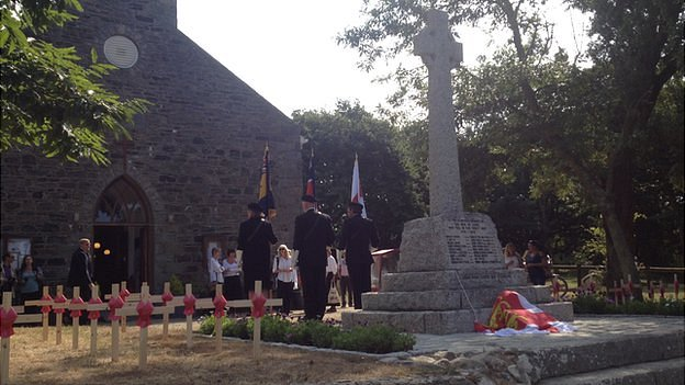 WW1 service of remembrance held outside St Peter's Church in Sark