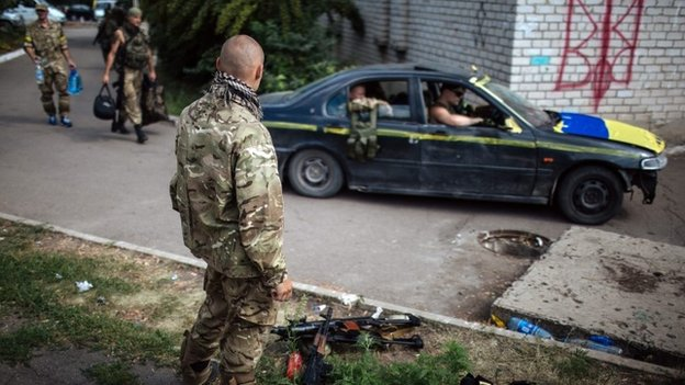 "Ukrainian activists from battalion ""Donbass"", in the eastern Ukrainian town Popasnaya"