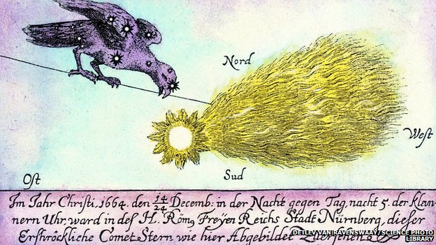 Comet. Historical artwork of a comet seen at Nuremberg, Germany, every night between 14th and 24th December 1664. This comet was one of the brightest of the time, and visible all across Europe