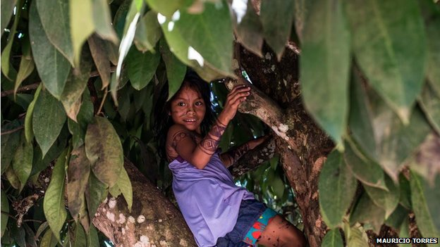 A Munduruku child plays in April 2014
