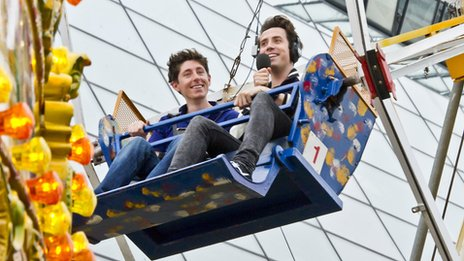 Radio 1 DJ Nick Grimshaw and producer Matt Fincham on the big wheel