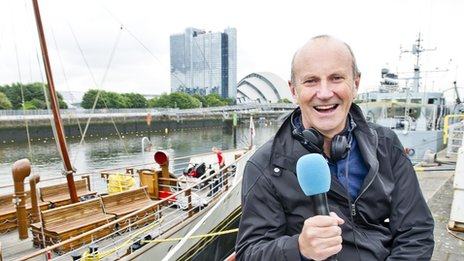 Fred Macaulay against River Clyde backdrop