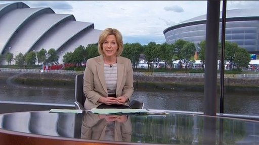 Hazel Irvine in studio with Hydro and Armadillo behind her