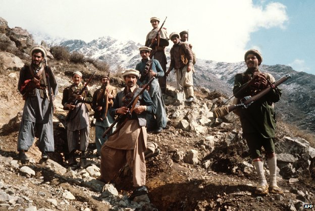 Afghan anti-Soviet resistance fighters in the early 1980s