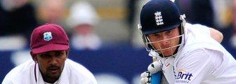 West Indies' Denesh Ramdin and England's Ian Bell