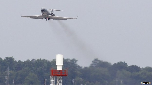 A Gulfstream airplane that brought American doctor Kent Brantly who has the Ebola virus, departs Dobbins Air Reserve Base to pick up the other worker infected with the Ebola virus, in Marietta, Georgia 2 August 2014