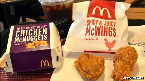 Chicken nuggets and Spicy McWings