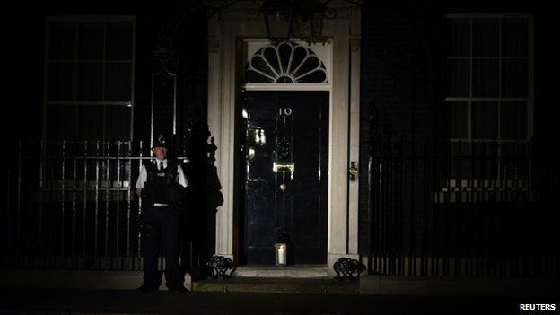 Lantern outside Downing Street