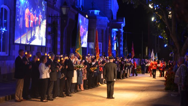 Standard bearers outside States building