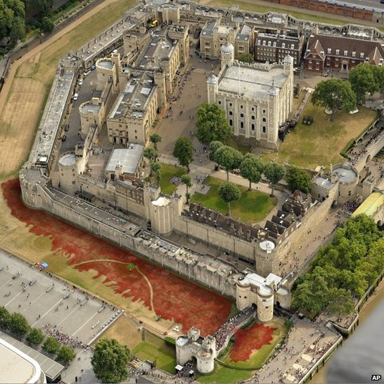 Aerial view of Tower of London