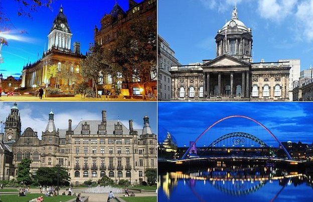 Leeds, Liverpool. Newcastle, Sheffield (going clockwise from top left)