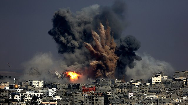 A bomb hits Gaza city