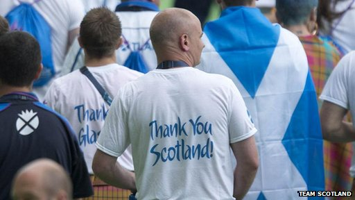 Man in Thank You Scotland shirt