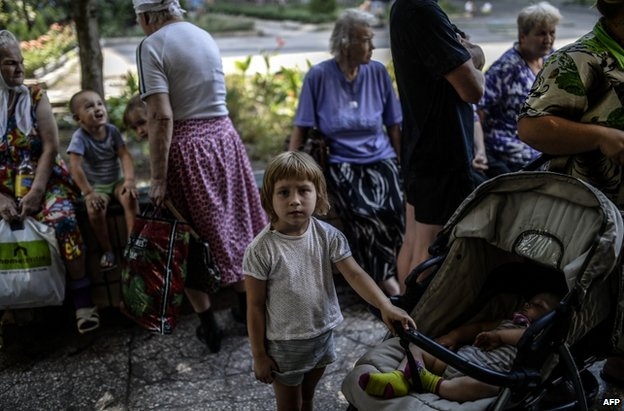 Refugees at a rebel-run hostel in Donetsk city, eastern Ukraine, 4 August
