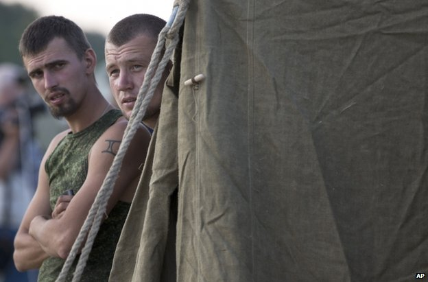 Ukrainian soldiers in the Russian camp near Gukovo, 4 August