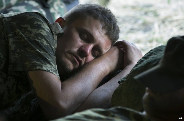 A Ukrainian soldier in the Russian camp near Gukovo, 4 August
