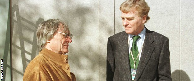 Ecclestone talks to the then FIA President Max Mosley