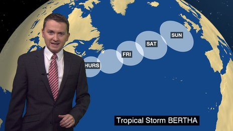 Tracking the route of Tropical Storm Bertha