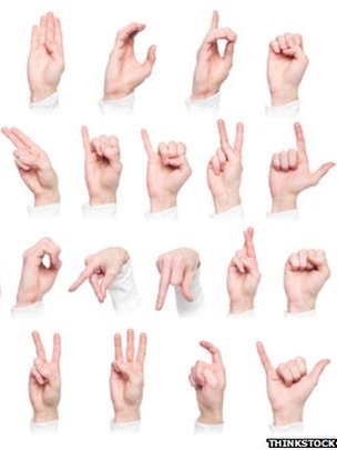 A selection of signs from the International Sign Language