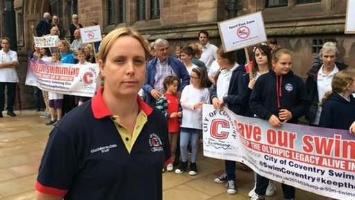 Coventry Swimming Club programme manager Jo Deakins at a demonstration by people who oppose the pool's closure