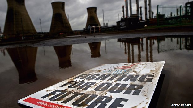 Union placard at Grangemouth plant