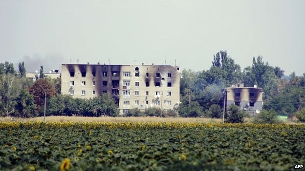 A picture shows a burnt buildings in the village of Maryinka, a suburb of Donetsk in eastern Ukraine, on 5 August 2014.