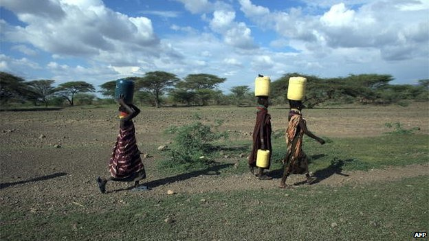 Women from the remote Turkana ethnic group in northern Kenya carry water from a well (9 November 2009).