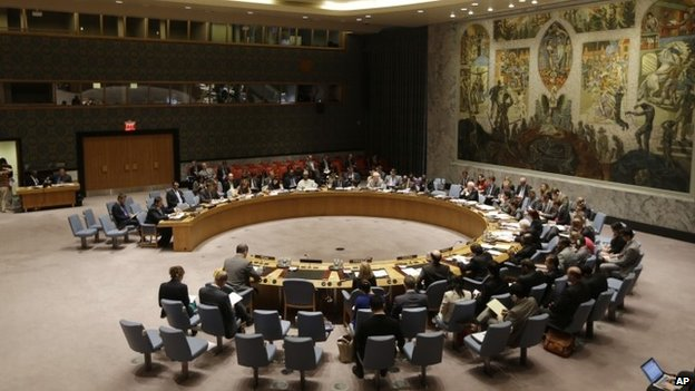The UN Security Council met to discuss the humanitarian situation in Ukraine on Saturday (5 August 2014)
