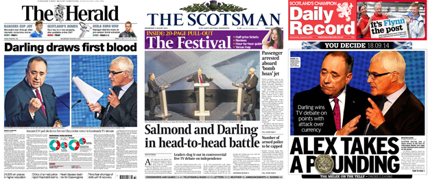 Front pages of the Herald, Scotsman and Daily Record