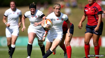 "Danielle Waterman of England breaks through to score a try during the IRB Women""s Rugby World Cup match between England and Spain on August 5, 2014 in Paris, France."