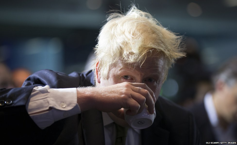 Mayor of London Boris Johnson prepares to deliver a speech in Bloomberg's European headquarters