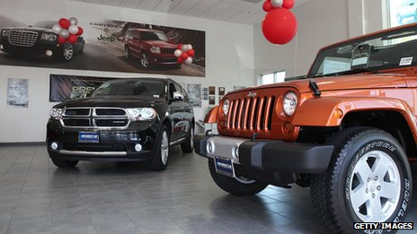 Chrylser Jeep in showroom