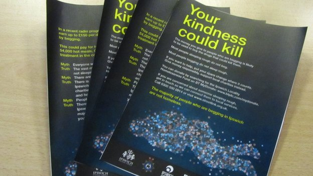 """Your kindness could kill"" leaflet"