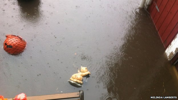 There was also bad flooding in Omagh, County Tyrone