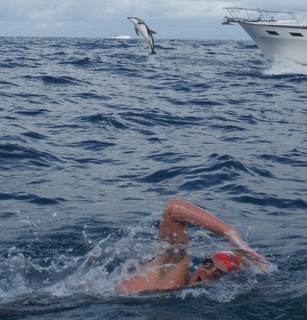 Adam Walker swimming in the Cook Strait