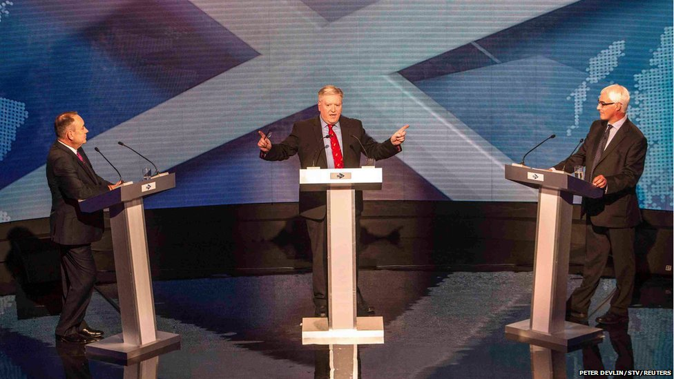 Alex Salmond, Bernard Ponsonby and Alistair Darling take part in the television debate