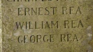 Rea family names on monument