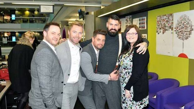 Nicola Stead with the members of Boyzone