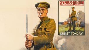 1914 WW1 poster reading 'Remember Belgium, Enlist Today'