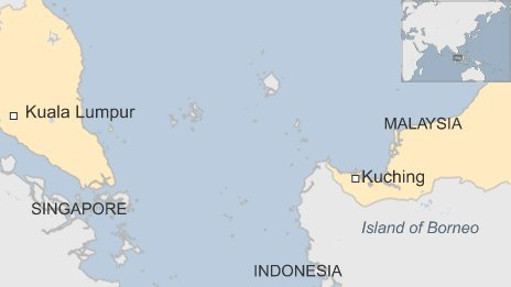 Map showing where Kuching is