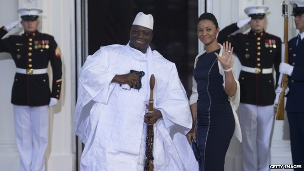 Gambian President Yahya Jammeh arrives at the White House for a group dinner during the US Africa Leaders Summit August 5, 2014 in Washington, DC