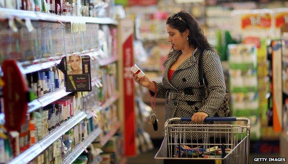 Woman shopping in Walgreens