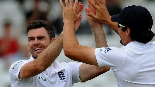 England's Jimmy Anderson (left) and Alastair Cook