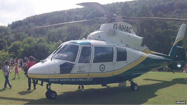 Air ambulance at Dalby Forest