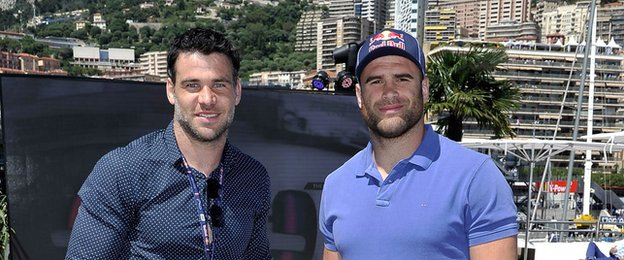 Mike Phillips and Jamie Roberts in Monaco for the Grand Prix