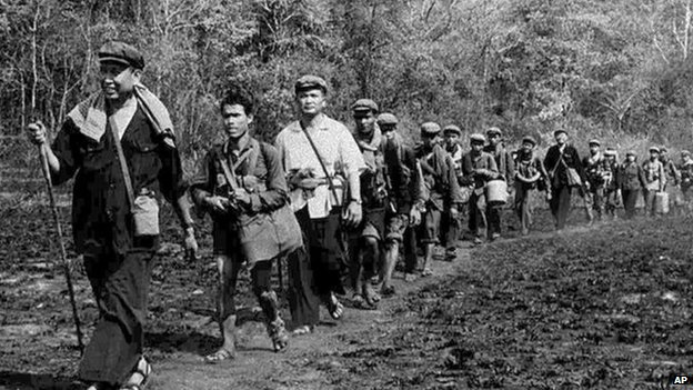 Khmer Rouge leader Pol leads a column of his men, in this photo obtained in 1979 by Japans Kyodo News service