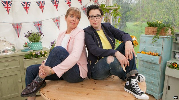 Mel Giedroyc, left, and Sue Perkins on the set of The Great British Bake Off