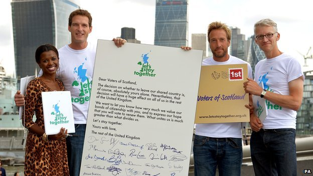 June Sarpong, Dan Snow, Ben Fogle and Tom Holland in central London with their giant Letter to Scotland
