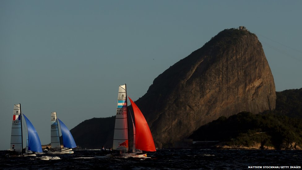 Boats compete in the NACRA 17 Class as part of the Aquece Rio International Sailing Regatta